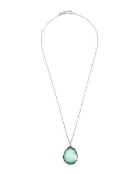 Wonderland Silver Large Teardrop Pendant Necklace, Mint