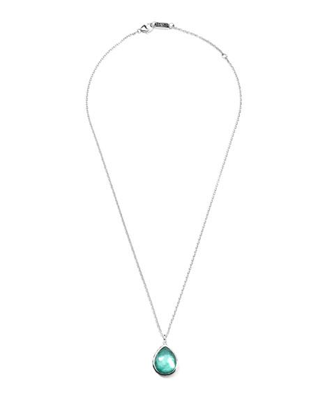 Wonderland Silver Mini Teardrop Necklace in Denim