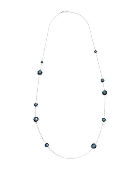 "Sterling Silver Wonderland Lollipop Station Necklace in Indigo 40"""