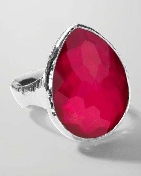 Sterling Silver Wonderland Teardrop Ring in Raspberry