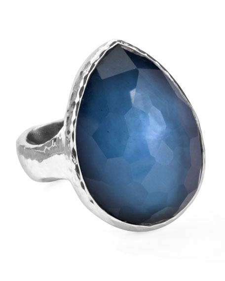 Sterling Silver Wonderland Teardrop Ring in Indigo