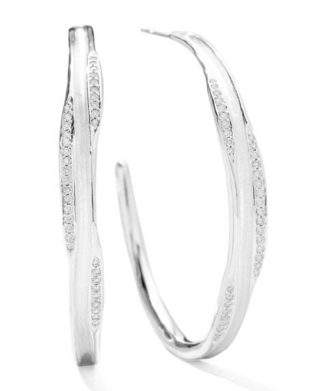 Sterling Silver Venezia Links #3 Hoop Earrings with Diamonds