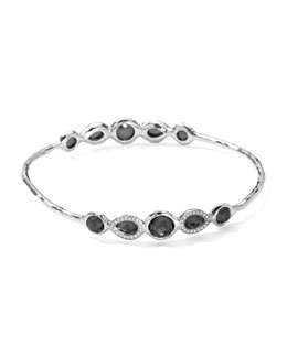Ippolita Stella Sterling Silver 10-Doublet Bangle in Hematite & Diamonds