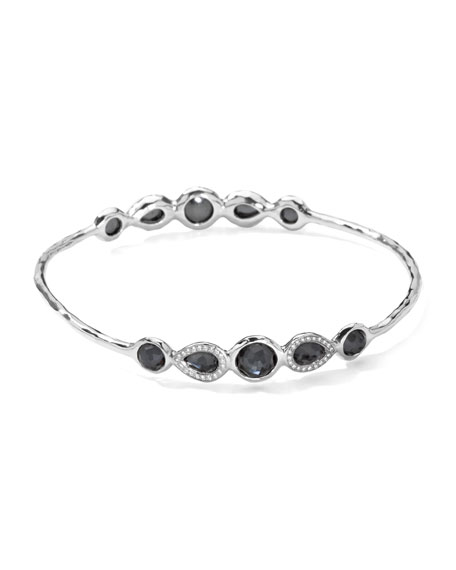 Stella Sterling Silver 10-Doublet Bangle in Hematite & Diamonds