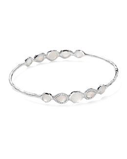 Ippolita Stella Sterling Silver 10-Doublet Bangle in Mother-of-Pearl & Diamonds