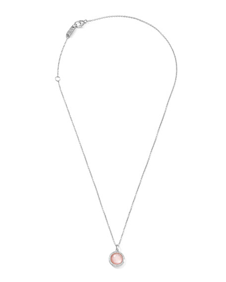 """Stella Lollipop Necklace in Pink Mother-of-Pearl & Diamonds 16-18"""""""