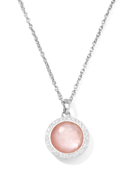 Stella Lollipop Necklace in Pink Mother-of-Pearl & Diamonds 16-18""