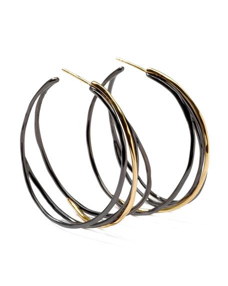 Notte Black Silver & 18k Gold #3 Squiggle Hoop Earrings