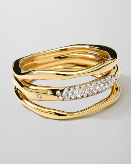 Ippolita 18K Gold Stardust Squiggle Ring with Diamonds