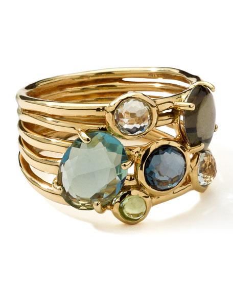 18k Gold Rock Candy Gelato 6-Stone Cluster Ring, Tartan