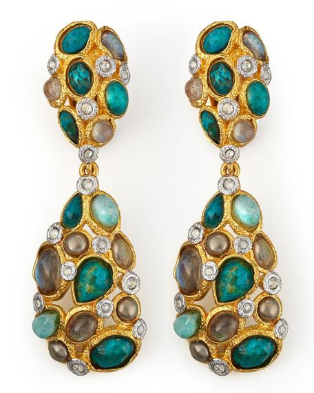 Kiwi Cluster Clip Earrings