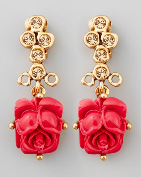 Resin Rose Clip Earrings, Amaranth