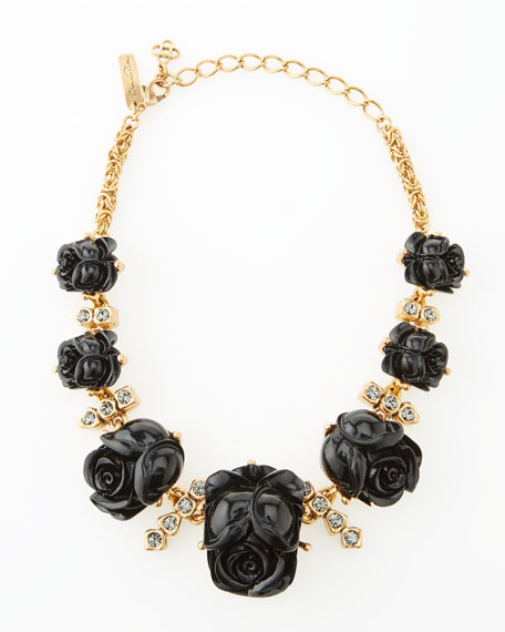 Resin Rose Necklace, Black