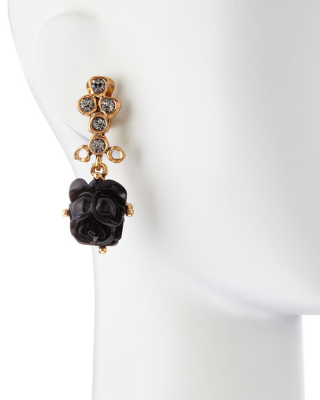 Resin Rose Clip Earrings, Black