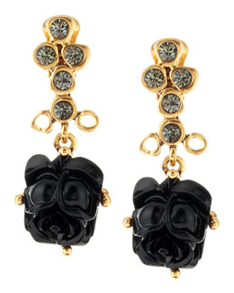 Oscar de la Renta Resin Rose Clip Earrings, Black