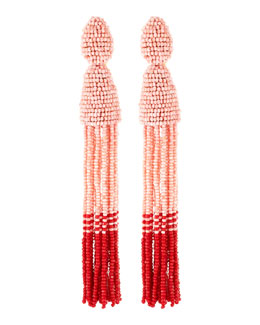 Oscar de la Renta Long Beaded Tassel Clip-On Earrings, Blush/Red