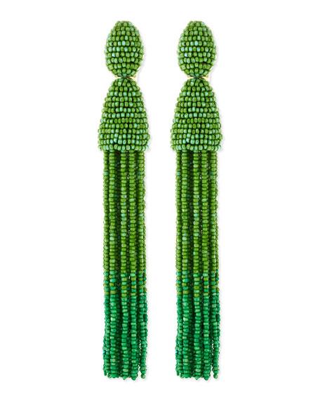 Long Beaded Tassel Clip-On Earrings, Kelly Green