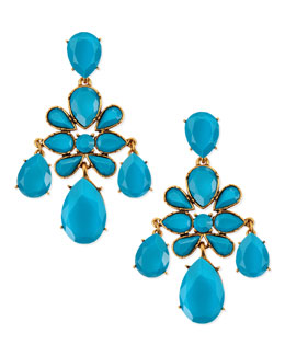 Oscar de la Renta Faceted Chandelier Clip-On Earrings, Turquoise