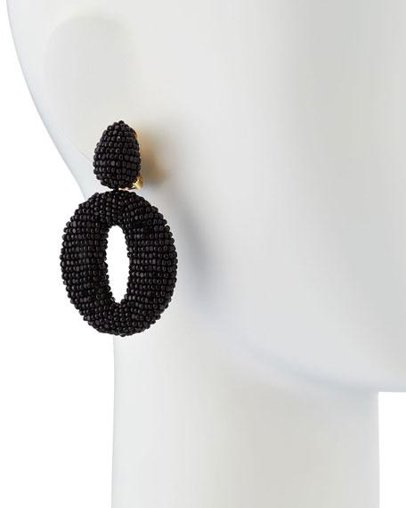 Oscar O Clip Beaded Earrings, Black