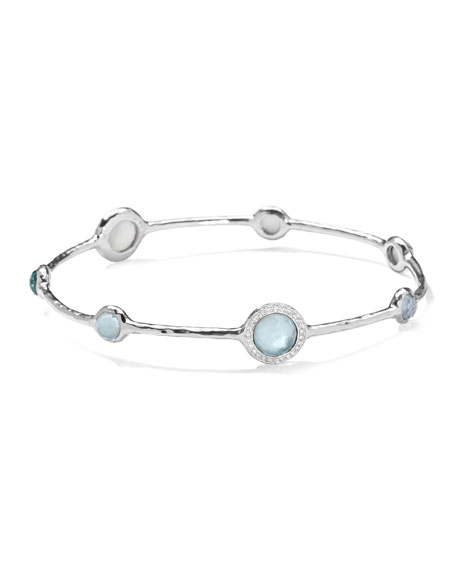 Stella Sterling Silver Bangle in Swiss Blue Topaz with Diamonds
