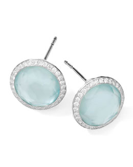 Ippolita Stella Stud Earrings in Blue Topaz Doublet with Diamonds