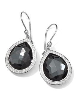 Ippolita Stella Teardrop Earrings in Hematite & Diamonds, 34mm