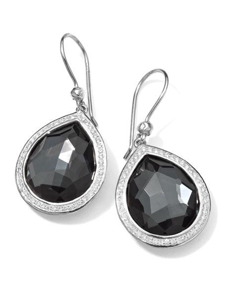 Stella Teardrop Earrings in Hematite & Diamonds, 34mm