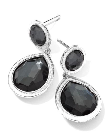 Stella 2-Stone Drop Earrings in Hematite & Diamonds