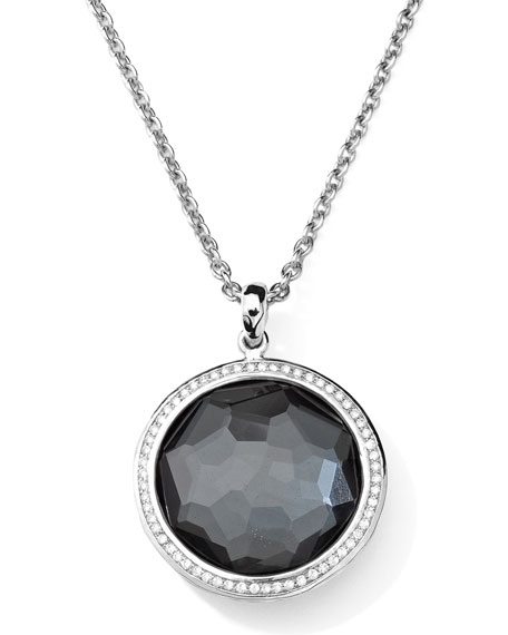 Stella Large Lollipop Necklace in Hematite & Diamonds 16-18""