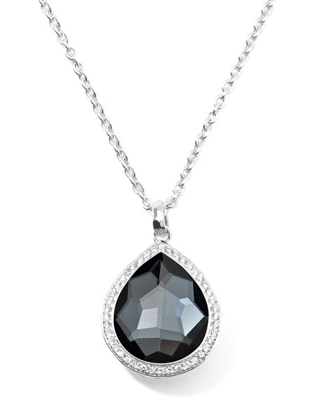 Stella Teardrop Necklace in Hematite & Diamonds 16-18""