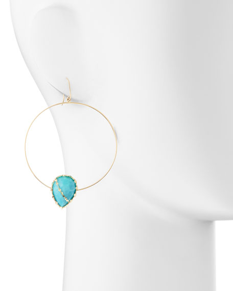 14k Gold Turquoise-Station Hoop Earrings