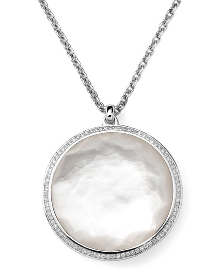 Stella Pendant Necklace in Mother-of-Pearl & Diamonds 16-18""