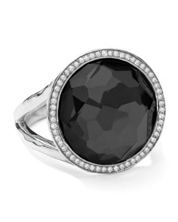 Ippolita Stella Lollipop Ring in Hematite & Diamonds, 0.23ct
