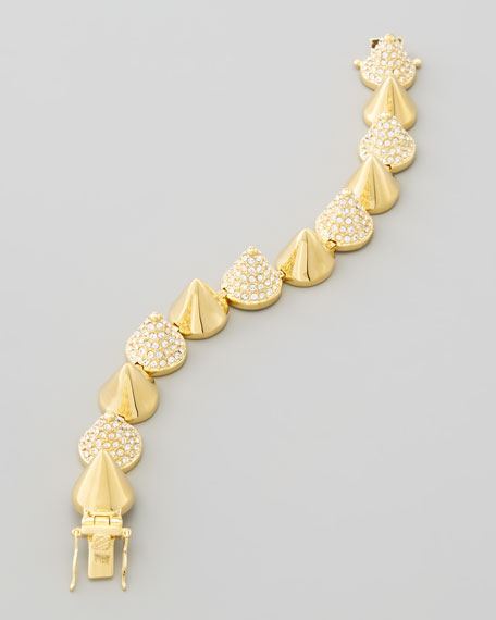 Alternating-Pave Cone Bracelet, Yellow Gold