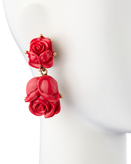 Double Rose Clip-On Earrings, Amaranth