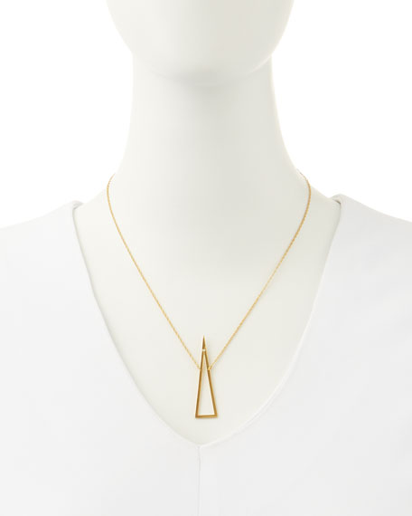Naven Open-Triangle Necklace with Single Diamond