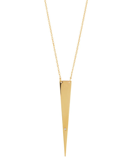Ofira Solid-Triangle Necklace with Single Diamond
