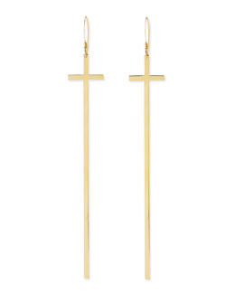 Jennifer Zeuner Elongated 18k Gold Cross Earrings