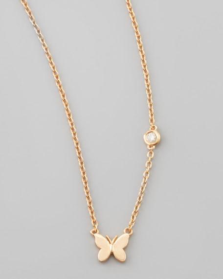 Butterfly Bezel-Diamond Pendant Necklace