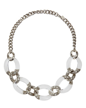 Five-Link Crystal Lucite Necklace, Clear