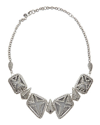 Crystal-Cage Lucite Bib Necklace, Gray