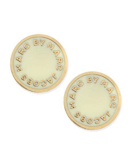 151676c33 MARC by Marc Jacobs Enamel Logo Disc Stud Earrings, Cream/Golden