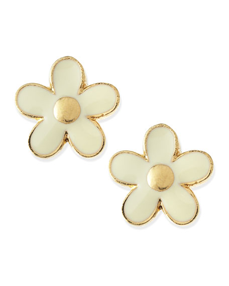 Daisy Stud Earrings, Cream/Golden