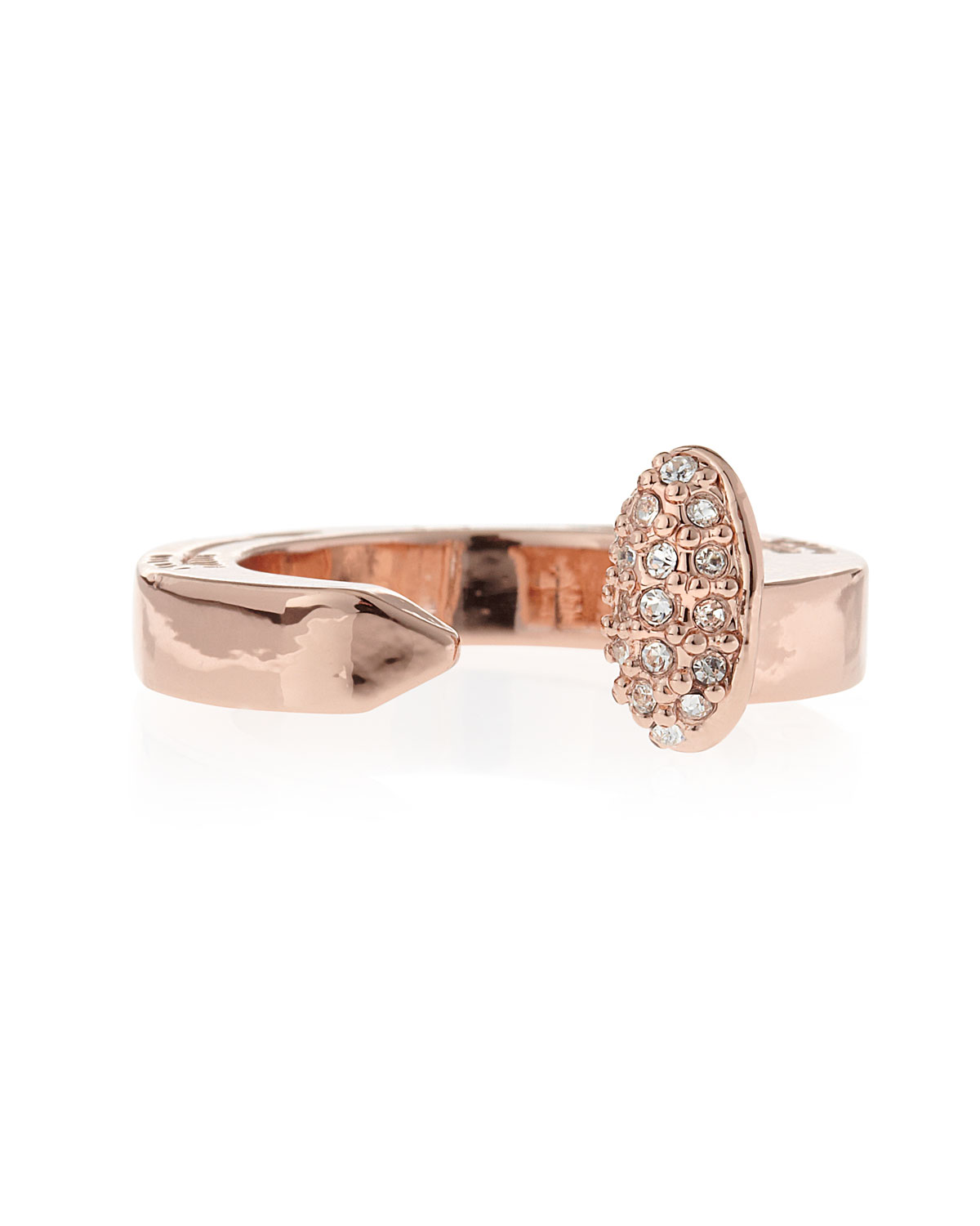 Giles Brother by Philip Crangi Pave Railroad Spike Ring, Rose Golden