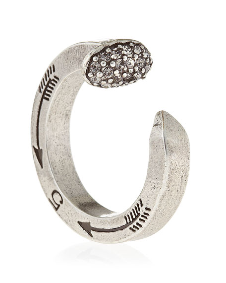 Pave Railroad Spike Ring, Silvertone