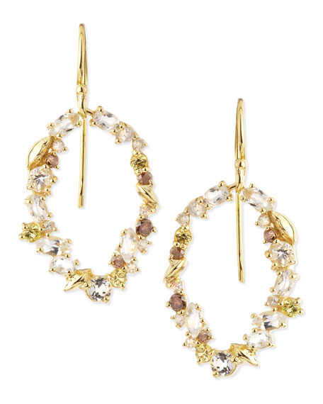 18k Golden Ice Diamond Oval Earrings