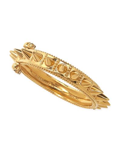 Spiked Yellow Gold Hinge Bracelet