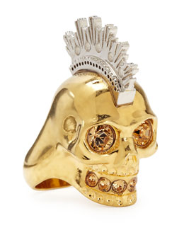 Two-Tone Punk Skull Ring