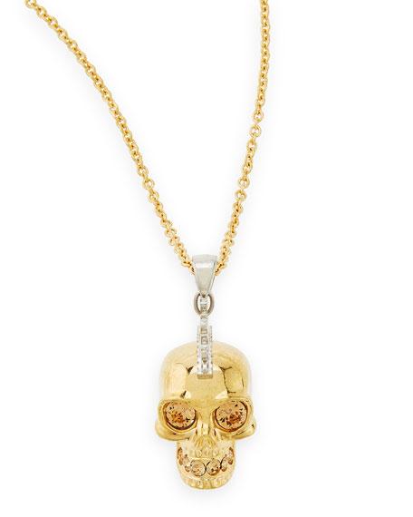 "Golden Punk Skull Pendant Necklace, 28"""