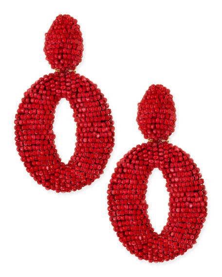 Oscar O Crystal Clip Earrings, Red Sorbet